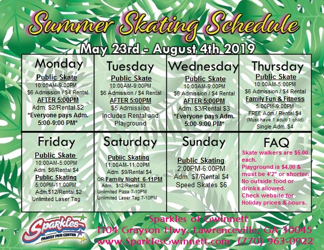 Summer Skating Schedule