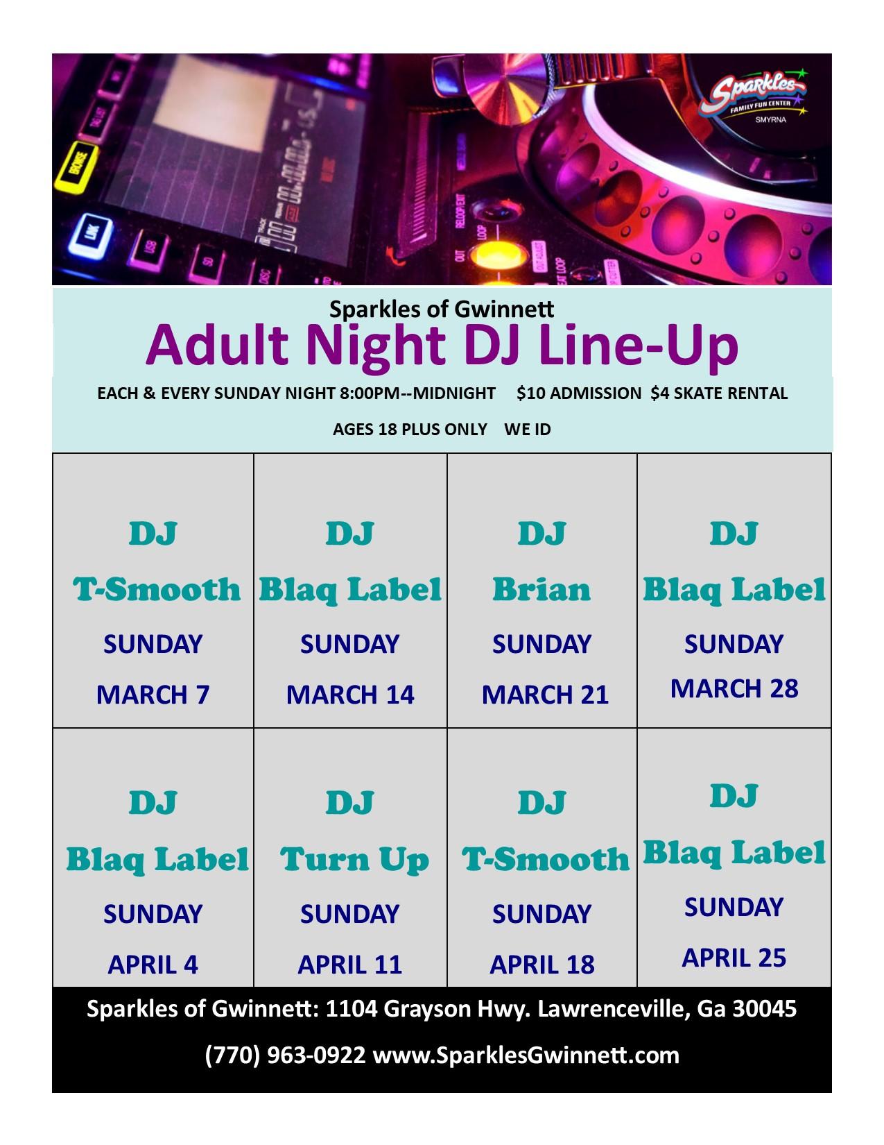 Adult Skate DJ Schedule
